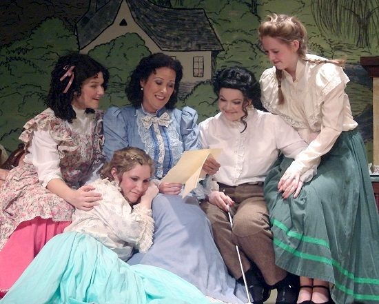 """Amy (Andy Kay), Beth (Sherry Benedek), Marmee (Michele Guyton), Jo (Michelle Hill), and Meg (Laura Whittenberg). Photo by MD Theatre Guide Staff Photographer David """"Ace"""" Livingston."""