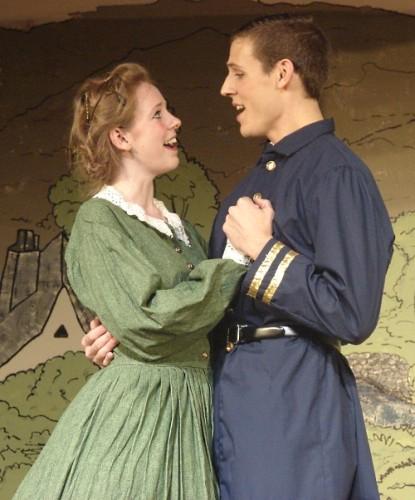 "Meg (Laura Whittenberg) and Mr. Brook (DJ Wojciehowski).  Photo by MD Theatre Guide Staff Photographer David ""Ace"" Livingston."
