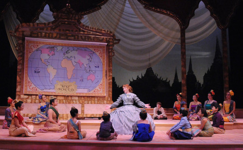 Eileen Ward (as Anna) and the cast of Olney Theatre Center's production of 'THE KING AND I.' Photo by Stan Barouh.