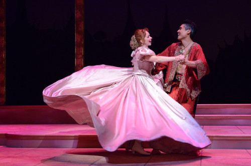 Shall We Dance? Paolo Montalban (as The King) and Eileen Ward (as Anna) in Olney Theatre Center's production of 'THE KING AND I.' Photo by Stan Barouh.