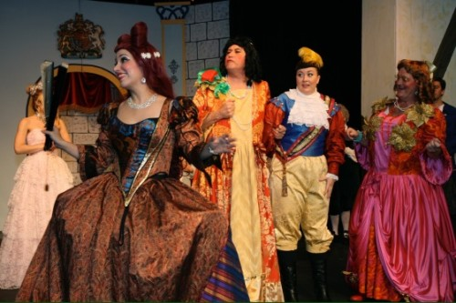 Baroness Hardup (Michelle Hessel), Fifi, an ugly sister (Colin Davies), Prince Charming (Karina Gershowitz), and Fru-Fru, and another ugly sister (Malcolm Edwards). Photo by J. Andrew Simmons.