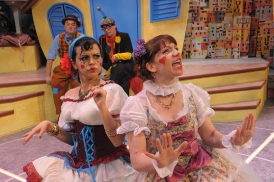 Foreground: Nora Achrati as Zerbinette and Megan Dominy as  Hyacinth.  Background: Michael Glenn as Scapin with Bradley Foster Smith as Sylvestre. Photo by Stan Barouh.