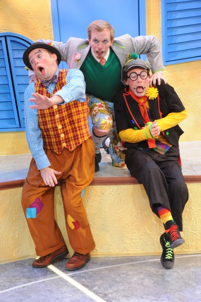 Michael Glenn as Scapin, Matthew McGee as Octave, and Bradley Foster Smith as Sylvestre. Photo by Stan Barouh.