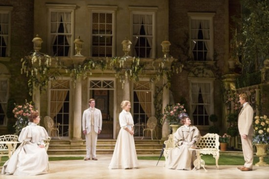 Vanessa Morosco as Gwendolen, Gregory Wooddell as Jack, Katie Fabel as Cecily, Siân Phillips as Lady Bracknell and Anthony Roach as Algernon. Photo by Scott Suchman.