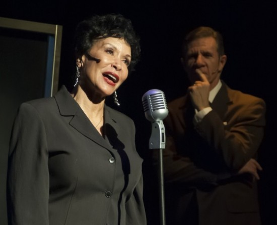 Freda Payne as Ella Fitzgerald and Tom Wiggin as her manager Norman Granz. Photo by Chris Banks.