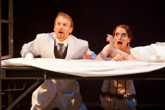 Philip Fletcher as Orsino and Kathy Gordon as Olivia. Photo by Koko Lanham.