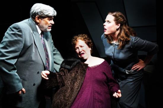 Judge Omar Gaffney (Marc Rehr), Veta Louise (Joan Crooks), and Myrtle May (Karina Ferry). Photo by Ken Stanek.
