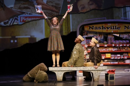 Erin Driscoll as Violet with Kevin McAllister and James Gardiner. Photo by Carol Rosegg.