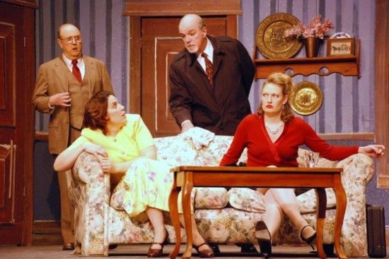 Henry (Gene Valendo) Jean (Mary Wakefield) Detective Davenport (Michael N. Dunlop), and Betty (Samantha Feikema). Photo courtesy of 2nd Star Productions.