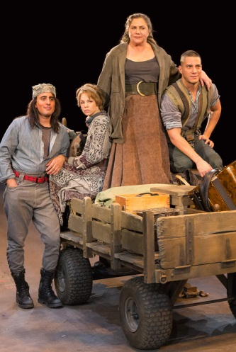 Nehal Joshi as Swiss Cheese, Erin Weaver as Kattrin, Kathleen Turner as Mother Courage and Nicholas Rodriguez as Eilif. Photo by Teresa Wood.