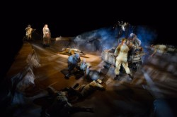 Kathleen Turner as Mother Courage and the cast of Mother Courage and Her Children. Photo by Teresa Wood.