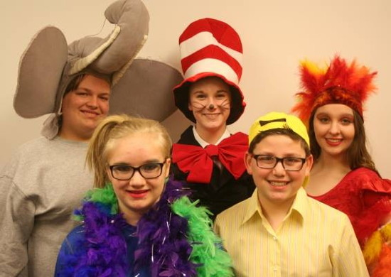 (l to r) Connor Moore as Horton, Ruby Kinstle as Gertrude McFuzz, Allison Mudd as The Cat in the Hat, Steven Gross as Jo Jo and Sheridan Merrick as Mayzie La Bird. Photo provided by Pumpkin Theatre.