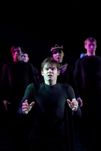 Alex Mills as Hamlet with ensemble. Photo by Koko Lanham.