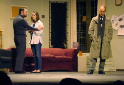 From left, Pat Reynolds as Mark Ryder, Amanda Magoffin as Bret Conway and James McDaniel as Detective Russell Craig. Photo by Bud Johnson for The Baltimore Sun.
