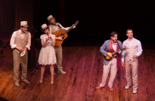"""Fiasco Theater singing """"Who is Sylvia?"""" in The Two Gentlemen of Verona at Folger Theatre April 17 – May 25, 2014. Pictured left to right: Zachary Fine, Emily Young, Andy Grotelueschen, Paul L. Coffey, and Noah Brody. Photo by Jeff Malet."""