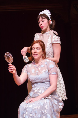 Lucetta (Emily Young) tending to her mistress (Julia, played by Jessie Austrian) in The Two Gentlemen of Verona. On stage at Folger Theatre April 17 – May 25, 2014. Photo by Teresa Wood.