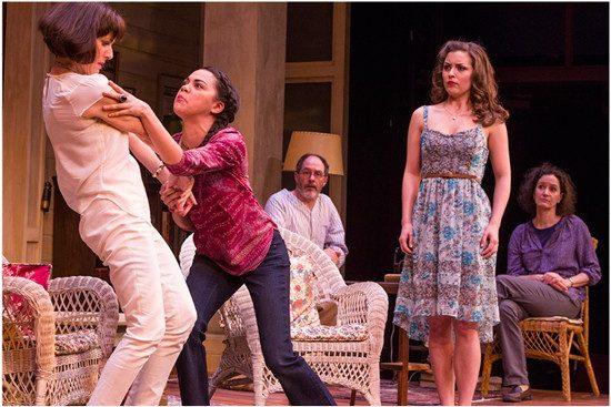 (l to r) Masha (Susan Rome), Cassandra (Kerry Warren), Vanya (Bruce Randolph Nelson), Nina (Emily Peterson), and Sonia (Barbara Walsh). Photo by Richard Anderson.