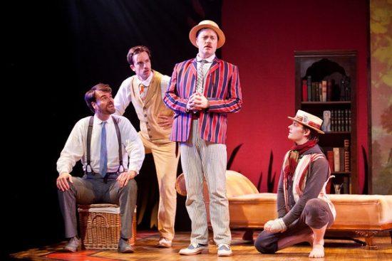 Tim Getman as George, Rob Jansen as Harris, Tom Story as Jerome, Alex Mills as Montmorency. Photo by Koko Lanham.