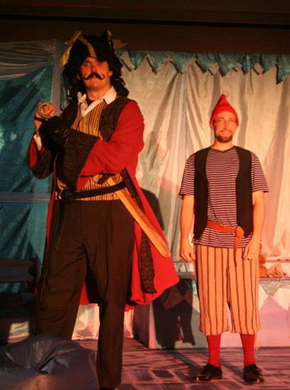 Eric Poch as Captain Hook and Anthony Scimonelli as Smee. Photo provided by Pumpkin Theatre.