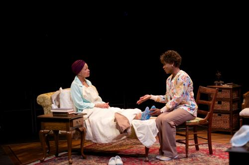 "Lizan Mitchell (l) as ""Carolyn"" and N.L. Graham (r) as ""Veronika"" in Dead & Breathing by Chisa Hutchinson. CATF 2014. Photo by Seth Freeman."