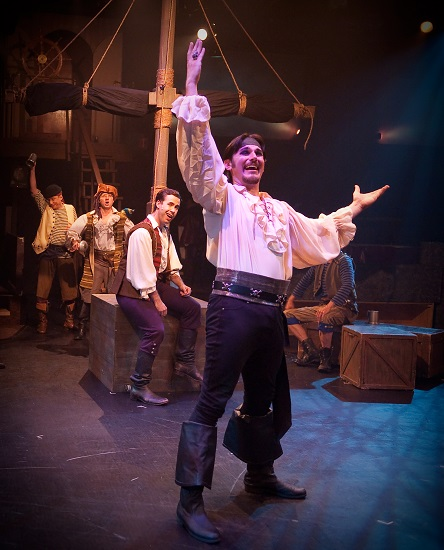 David Jennings as The Pirate King, Nick Lehan, Jeffrey Shankle and David James.  Photo by Chris Christiansen.