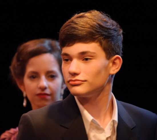 Madeline Long and Jack Connors in Edward II. Photo provided by Spotlighters Theatre.