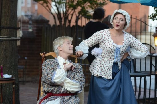 Kim Curtis (Argan) and Briana Manente (Toinette) in Annapolis Shakespeare Company's production of Moliere's The Imaginary Invalid.  Photo by Joshua McKerrow.