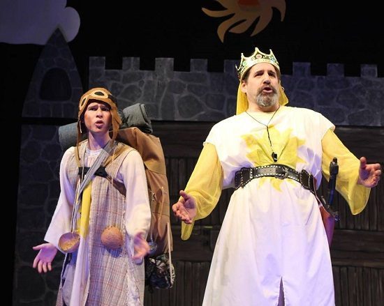 Asher Varon as Patsy and Paul Margolis as King Arthur.  Photo by Steve Isack.