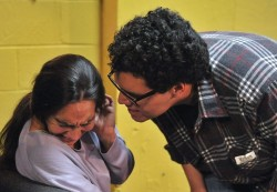 Almajan (Laura) and  Vilchez (Raymond) struggle in the life or death situation in Rage. (Photo credit: Val Radev)