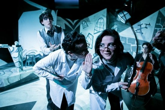 Frank Cevarichm, Lee Gerstenhaber, Madeline Key and Madeline Waters in the Pointless Theatre version of 'Doctor Caligari' at Mead Theatre Lab at Flashpoint. Photo by C. Stanley Photography.