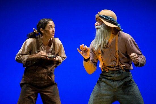 Helen Cespedes and Evan Zes in the opening scene of Beth Henley's 'Laugh' at Studio Theatre. Photo by Igor Dmitry.