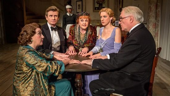 Sandra Shipley as Mrs. Bradman, Charles Edwards as Charles Condomine, Susan Louise O'Connor as Edith, Angela Lansbury as Madame Arcati, Charlotte Parry as Ruth Condomine, and Simon Jones as Dr. Bradman in the North American tour of Noël Coward's Blithe Spirit. Photo by Joan Marcus.