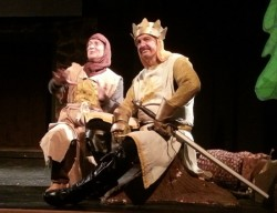 Patsy (L- Jeremy Goldman) and King Arthur (R- Mo Dutterer). Photo by Steve Teller.