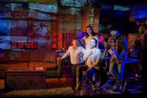 "Joshua Morgan (Steven), Natascia Diaz (Adrienne), Alex Brightman (Jonah), and Jessica Hershberg (Charlie) in ""Soon"" at Signature Theatre. Photo by Teresa Wood."