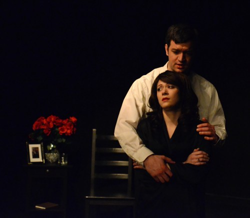 """William Krumich as Mosby and Victoria Reinsel as Alice Arden in the production, """"Arden of Faversham"""" by Brave Spirits Theatre. Photo by Kevin Hollenbeck."""