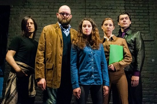 Yoni Gray, Adam R. Adkins, Kate Jeffries, Jen Bevan and Elliott Kashner in Molotov Theatre's production of 'The Margins.' Photo by Kristin Jackman.