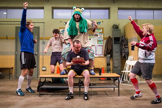 Zdenko Martin (Danny), Liam Forde (Luke), Jonathan Judge-Russo (Beardy Geoff), Michael Glenn (Joe), and Kimberly Gilbert (Viv) in Jumpers for Goalposts at Studio Theatre. Photo: Igor Dmitry.