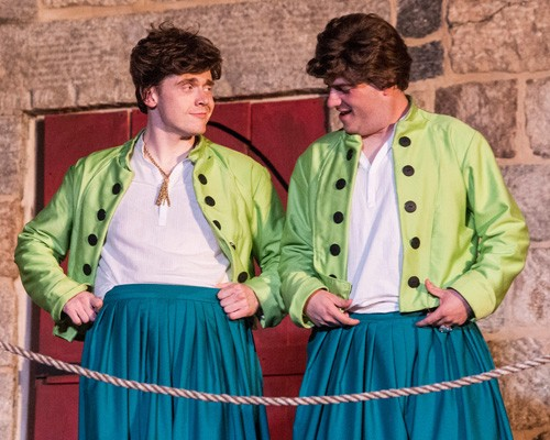 In Shakespeare's 'The Comedy of Errors,' two sets of twins who have been separated since childhood are reunited through a series of mix-ups. Matthew Ancarrow (left) and Robby Rose (right) are the twins named Antipholus. Photo by Teresa Castracane.