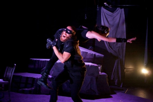 """Ryan Tumulty and Tori Bertocci in Flying V Theatre's """"Heroes & Monsters."""" Photo by Ryan Maxwell"""