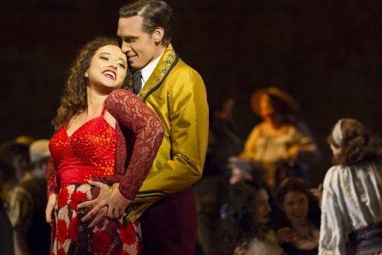 Clémentine Margaine as Carmen and Michael Todd Simpson as Escamillo. (Scott Suchman/WNO)
