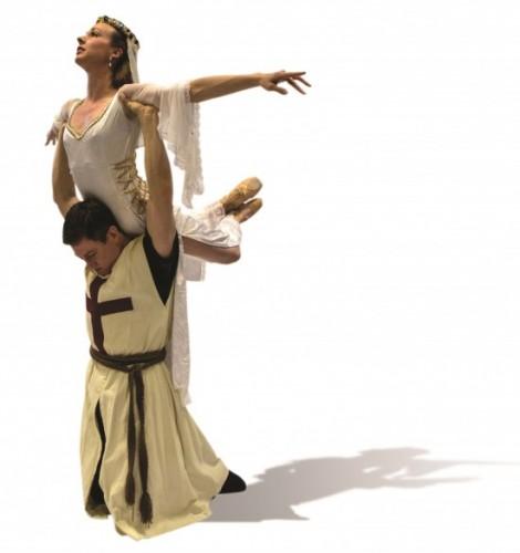 Principal dancer Alexander Collen as Lancelot with Principal dancer Nicole Kelsch as Guinevere. Photo by Nick Eckert.