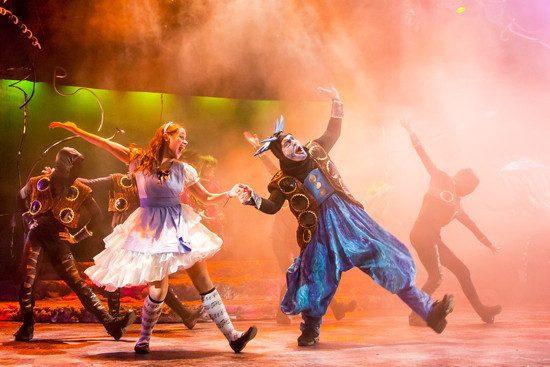 Kathy Gordon as Alice and Vato Tsikurishvili as Caterpillar. Photo by Johnny Shryock.