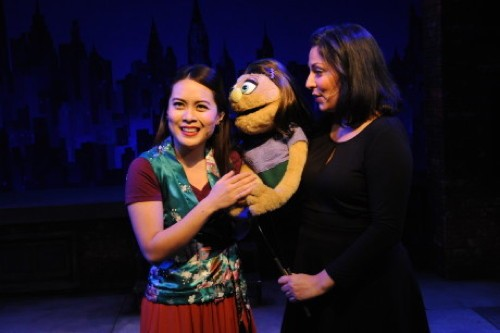 Justine Icy Moral as Christmas Eve and Katy Karkuff as Kate Monster . Photo by Stan Barouh.