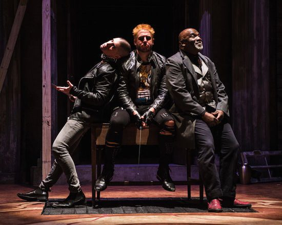 Aaron the Moor is the mastermind of much evil committed by Chiron and Demetrius, who are sons of his lover, the Goth Queen. Actors: Gregory Burgess as Aaron the Moor, Seamus Miller as Chiron (shaved head), James Jager as Demetrius (blond). Photo by Teresa Castracane.