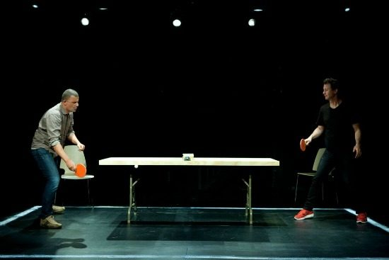 Marcus Youssef and James Long in Winners and Losers. Photo by Simon Hayter.