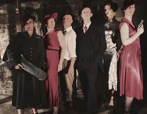 The cast of 'Cabaret Noir' – Karen Hansen, Sabrina Mandell, Mark Jaster, Alex Vernon, Sarah Olmsted Thomas, and Gwen Grastorf. Photo by Margaret Hart Photography.