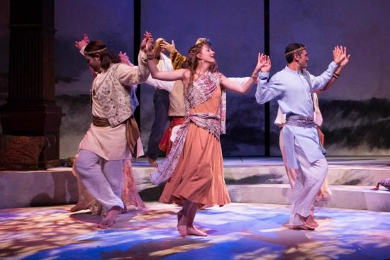 Zlato Rizziolli, Emily Serdahl, Michael Gabriel Goodfriend and others dance during the festivities in Pericles. Photo by Teresa Wood