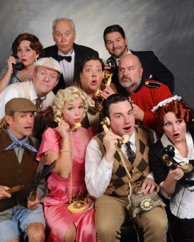 Cast of 'Something's Afoot.' Front Row: Gary Dieter, Amanda Dickson, Thomas Gardner, Tammy Oppel. Middle Row: Mike Ware, Jane C. Boyle, Steve Antonsen. Back Row: Elton Knupp, Tim Evans, Dean Allen Davis. Photo by Tom Lauer.