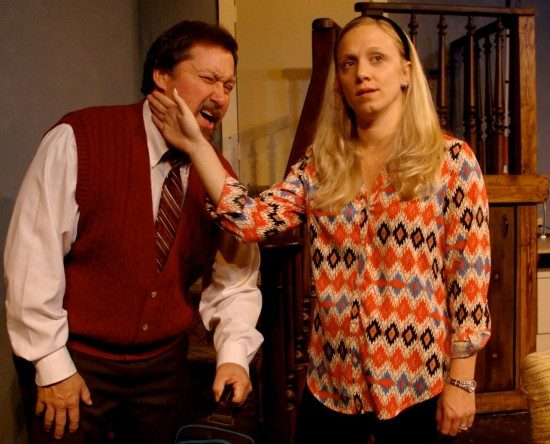 Suzy (Becca Van Aken) playfully slaps her husband Sam (Brian Whitaker); an endearing game they share. Photo courtesy of Church Hill Theatre.