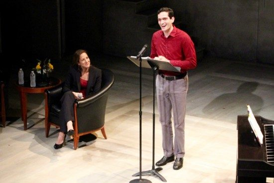Joshua Dick singing for the author of the book Stars of David Abigail Pogrebin at Theater J's benefit honoring her. Photo courtesy of Theater J.